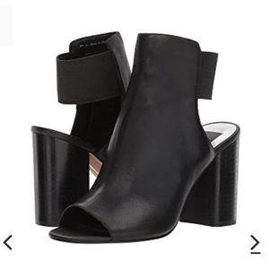Dolce Vita Reyna Leather Block Heel Booties Black
